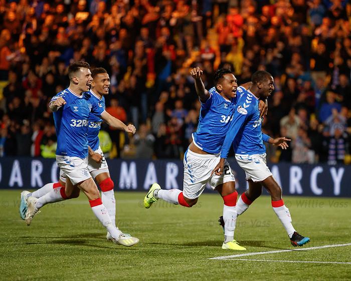25.09.2018 Livingston v Rangers: Glen Kamara celebrates his goal with Alfredo Morelos and Ryan Jack