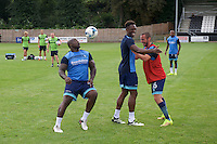 Adebayo Akinfenwa of Wycombe Wanderers  warming up before the Friendly match between Maidenhead United and Wycombe Wanderers at York Road, Maidenhead, England on 30 July 2016. Photo by Alan  Stanford PRiME Media Images.