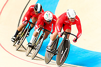 Picture by Alex Whitehead/SWpix.com - 09/12/2017 - Cycling - UCI Track Cycling World Cup Santiago - Velódromo de Peñalolén, Santiago, Chile - China's Jianxin Li, Yongjia Luo and Chao Xu compete in the Men's Team Sprint qualifying.