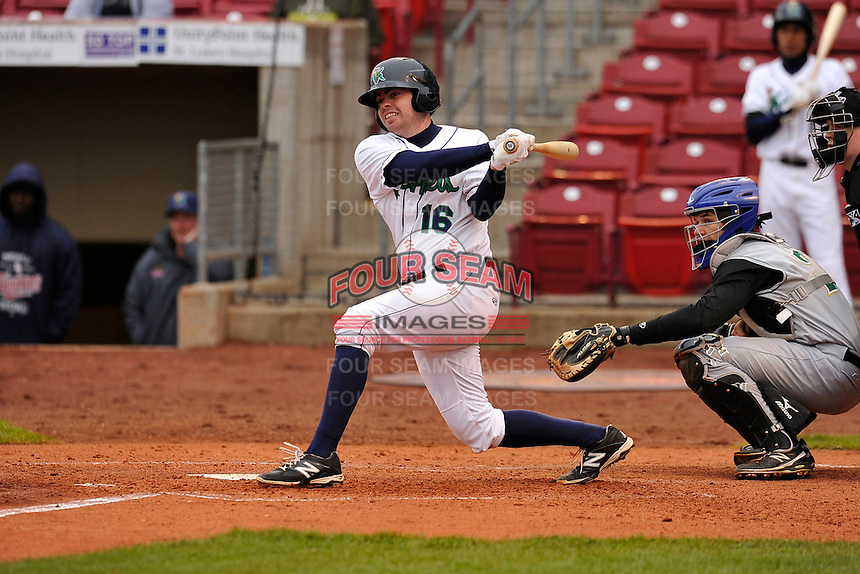 Bo Altobelli #16 of the Cedar Rapids Kernels swings against the Kane County Cougars at Perfect Game Field on May 1, 2014 in Cedar Rapids, Iowa. The Kernels won 5-2.   (Dennis Hubbard/Four Seam Images)