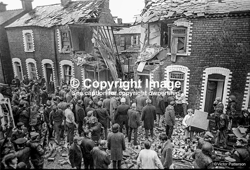 Scene following Provisonal IRA booby-trap explosion in terrace house in Sheriff Street, Belfast, N Ireland, 8th January 1972. Twenty-six were injured in the blast of which 8 were hospitalized. Among the injured were six soldiers for whom the booby-trap was intended. Soldiers had gone to the house following a phone call from a woman saying there were guns and ammunition hidden there. 197201080004a<br />