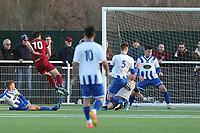 Chris Whelpdale of Chelmsford City scores the first City goal during Aveley vs Chelmsford City, Buildbase FA Trophy Football at Parkside on 8th February 2020