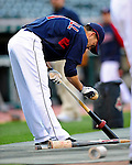 4 September 2009: Cleveland Indians' utilityman Jamey Carroll prepares his bat before his turn in the batting cage prior to a game against the Minnesota Twins at Progressive Field in Cleveland, Ohio. The Indians defeated the Twins 5-2 to take the first game of their three-game weekend series. Mandatory Credit: Ed Wolfstein Photo