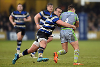 Michael van Vuuren of Bath Rugby tackles Sam Stuart of Newcastle Falcons. Anglo-Welsh Cup match, between Bath Rugby and Newcastle Falcons on January 27, 2018 at the Recreation Ground in Bath, England. Photo by: Patrick Khachfe / Onside Images
