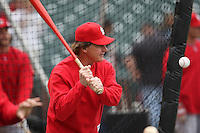 SAN FRANCISCO - MAY 30:  Manager Tony La Russa of the St. Louis Cardinals hits fungoes before the game against the San Francisco Giants at AT&T Park in San Francisco, California on Saturday, May 30, 2009.  The Cardinals defeated the Giants 6-2.  Photo by Brad Mangin