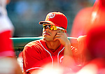 29 August 2010: Washington Nationals catcher Ivan Rodriguez watches play from the dugout during a game against the St. Louis Cardinals at Nationals Park in Washington, DC. The Nationals defeated the Cards 4-2 to take the final game of their 4-game series. Mandatory Credit: Ed Wolfstein Photo