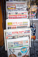 A collection of ethnic newspapers displayed at a newsstand in New York on Saturday, August 24, 2013. (© Richard B. Levine)