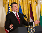 President Raimonds Vejonis, of Latvia participates in a news conference with other leaders of Baltic Nations at The White House in Washington, DC, April 3, 2018. <br /> Credit: Chris Kleponis / Pool via CNP