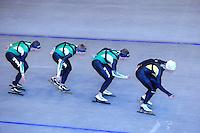 SCHAATSEN: HEERENVEEN: Thialf, 07-06-2012, Zomerijs, Sven Kramer, Douwe de Vries, Jan Blokhuijsen, Koen Verweij, Team Pursuit training, ©foto Martin de Jong