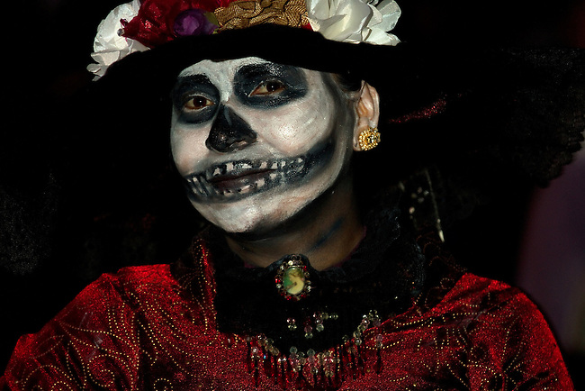 """Ghostly figures called  """"Katrinas"""" inhabit the night in La Paz during Dia de Los Muertos (Day of the Dead"""" in La Paz, Mexico and throughout Latin America."""