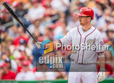 27 May 2013: Washington Nationals first baseman Adam LaRoche takes a stance at the plate during a game against the Baltimore Orioles at Nationals Park in Washington, DC. The Orioles defeated the Nationals 6-2, taking the Memorial Day, first game of their interleague series. Mandatory Credit: Ed Wolfstein Photo *** RAW (NEF) Image File Available ***