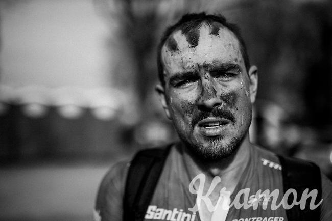 John Degenkolb's (DEU/Trek-Segafredo) post-race face<br /> <br /> 116th Paris-Roubaix (1.UWT)<br /> 1 Day Race. Compiègne - Roubaix (257km)