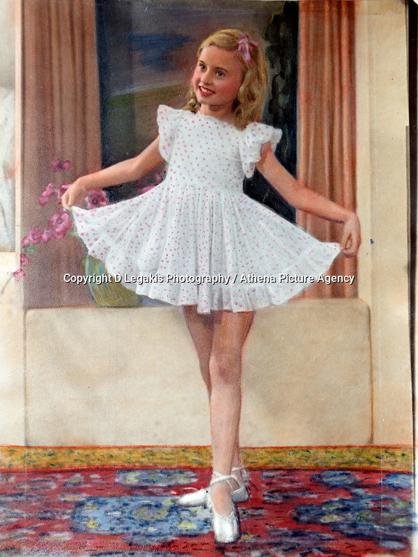 Pictured: A copy picture of former Tiller girl Pat Stewart when she was 4 or five years old. She was photographed by Bert Hardy in an iconic picture at Blackpool seafront in the 50ies and now lives in a static caravan in Llantwit Major in south Wales. Monday 20 June 2011