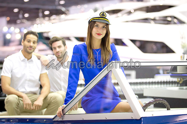 08 January 2016 - London, England - Lucy Watson Launches The Capitalís Biggest Ever London Boat Show. Jetting back from her Caribbean Christmas, Made in Chelsea star Lucy Watson, today opened the 62nd annual London Boat Show at ExCeL London. Running for ten days until Sunday 17 January, this yearís Show is set to be the biggest the capital has ever seen. No stranger to the deck of a luxury powerboat, and often spotted on the open seas with other Made in Chelsea cast members and friends, the television personality, model and boating enthusiast enjoyed a tour of the Show before climbing aboard the Sunseeker 131 the largest boat ever launched at the show, priced at around £16 million. Photo Credit: Alpha Press/AdMedia