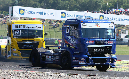 30.08.2015. Most, Czech Republic. FIA European Truck Racing Championship. Czech Truck Prix. 3rd race,from left Anthony JANIEC (FRA), MAN, Lion Truck Racing, Mathew SUMMERFIELD (GB), MAN