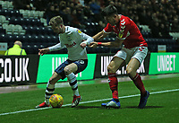 Preston North End's Graham Burke shields the ball from Middlesbrough's Danny Batth<br /> <br /> Photographer Stephen White/CameraSport<br /> <br /> The EFL Sky Bet Championship - Preston North End v Middlesbrough - Tuesday 27th November 2018 - Deepdale Stadium - Preston<br /> <br /> World Copyright © 2018 CameraSport. All rights reserved. 43 Linden Ave. Countesthorpe. Leicester. England. LE8 5PG - Tel: +44 (0) 116 277 4147 - admin@camerasport.com - www.camerasport.com