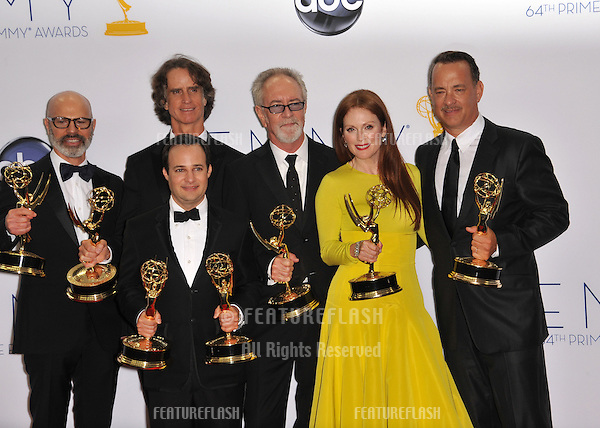 Game Change star Julianne Moore & exec. producer Tom Hanks & cast at the 64th Primetime Emmy Awards at the Nokia Theatre LA Live..September 23, 2012  Los Angeles, CA.Picture: Paul Smith / Featureflash