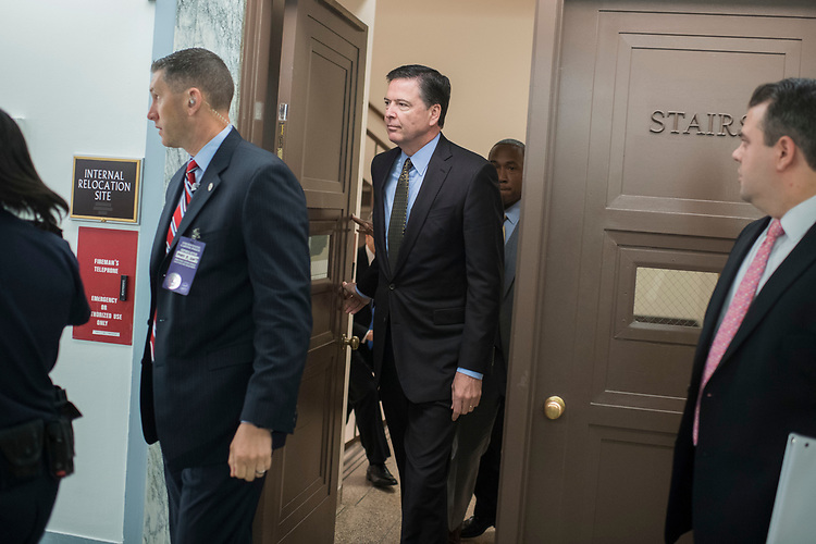 "UNITED STATES - MAY 3: FBI Director James Comey arrives to testify before a Senate Judiciary Committee hearing in Dirksen Building titled ""Oversight of the Federal Bureau of Investigation,"" on May 3, 2017. (Photo By Tom Williams/CQ Roll Call)"
