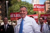 NYC Public Advocate and mayoral candidate Bill de Blasio at his endorsement in New York by the Committee of Interns and Residents on Wednesday, August 14, 2013. De Blasio has currently taken the lead in the Quinnipiac University Poll with 30 percent. Christine Quinn follows with 24 percent, then William Thompson at 22 percent and Anthony Weiner with 10 percent. John Lui and Sal Albanese are in the single digits. (© Richard B. Levine)