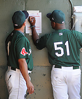 Manager Billy McMillon (51), right, of the Greenville Drive makes a roster change during a game against the Augusta GreenJackets on May 23, 2010, at Fluor Field at the West End in Greenville, S.C. With him is hitting coach Luis Lopez (11). Photo by: Tom Priddy/Four Seam Images