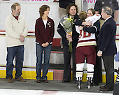 Ken Stack, Nancy Stack, Courtney Kennedy (BC - Assistant Coach), Kelli Stack (BC - 16), Katie King (BC - Head Coach), Tom Peters - The Boston College Eagles and the visiting University of New Hampshire Wildcats played to a scoreless tie in BC's senior game on Saturday, February 19, 2011, at Conte Forum in Chestnut Hill, Massachusetts.