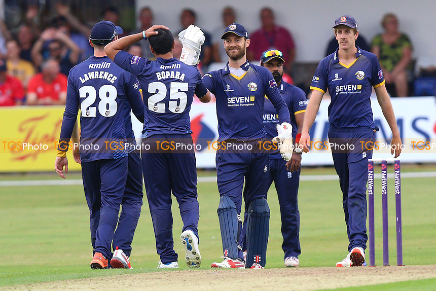 Essex players celebrate the wicket of Phil Salt during Essex Eagles vs Sussex Sharks, NatWest T20 Blast Cricket at the Essex County Ground on 21st July 2016