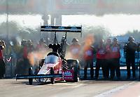 Oct 18, 2019; Ennis, TX, USA; NHRA top fuel driver Doug Kalitta during qualifying for the Fall Nationals at the Texas Motorplex. Mandatory Credit: Mark J. Rebilas-USA TODAY Sports