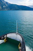 Bow of car and passenger ferry traveling across Sognefjord, Norway