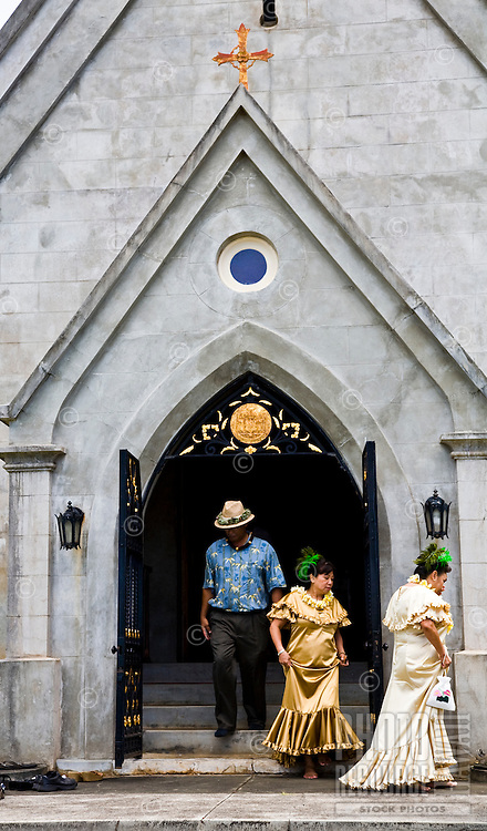 People walking out of the Royal Mausoleum at the annual Lei Day celebration