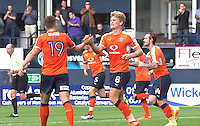 Cameron McGeehan of Luton Town (right) celebrates with the provider Olly Lee during the Sky Bet League 2 match between Luton Town and Doncaster Rovers at Kenilworth Road, Luton, England on 24 September 2016. Photo by Liam Smith.