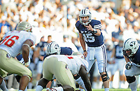 Sept. 19, 2009; Provo, UT, USA; BYU Cougars quarterback (15) Max Hall calls a play in the first half against the Florida State Seminoles at LaVell Edwards Stadium. Mandatory Credit: Mark J. Rebilas-