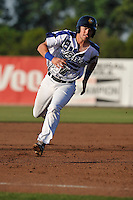 Burlington Bees Jared Walsh (21) runs to third base during the Midwest League game against the Quad Cities River Bandits at Community Field on June 10, 2016 in Burlington, Iowa.  The Bees won 3-1.  (Dennis Hubbard/Four Seam Images)