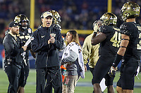 Annapolis, MD - December 27, 2016: Wake Forest Demon Deacons head coach Dave Clawson talks to his players during game between Temple and Wake Forest at  Navy-Marine Corps Memorial Stadium in Annapolis, MD.   (Photo by Elliott Brown/Media Images International)