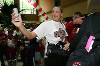 SAN ANTONIO, TX - APRIL 4:  Jayne Appel at a rally before Stanford's 73-66 win over Oklahoma in the Final Four semi-finals at the Alamo Dome on April 4, 2010 in San Antonio, Texas.
