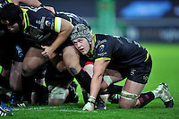 Dan Lydiate of the Ospreys looks on at a scrum. European Rugby Champions Cup match, between the Ospreys and Bordeaux Begles on December 12, 2015 at the Liberty Stadium in Swansea, Wales. Photo by: Patrick Khachfe / JMP