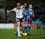 James McEveley of Sheffield Utd tackled by Luke Williams of Scunthorpe Utd - English League One - Scunthorpe Utd vs Sheffield Utd - Glandford Park Stadium - Scunthorpe - England - 19th December 2015 - Pic Simon Bellis/Sportimage