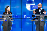 BRUSSELS - BELGIUM - 13 December 2019 -- EU-Summit with Heads of State - European Council meeting - Presidency of Finland. -- Sanna Marin (le), Prime Minister of Finland, Charles Michel, President of the European Council during the press conference  -- PHOTO: Juha ROININEN / EUP-IMAGES