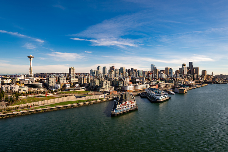 February 8th, 2016 &mdash; Puget Sound, Seattle, Washington, USA<br /> <br /> Seattle&rsquo;s waterfront seen from a helicopter. images shows the Space Needle, Pier 70, Olympic Sculpture Park (SAM) Seattle Art Museum.<br /> <br /> Photograph by Stuart Isett<br /> &copy;2015 Stuart Isett. All rights reserved.