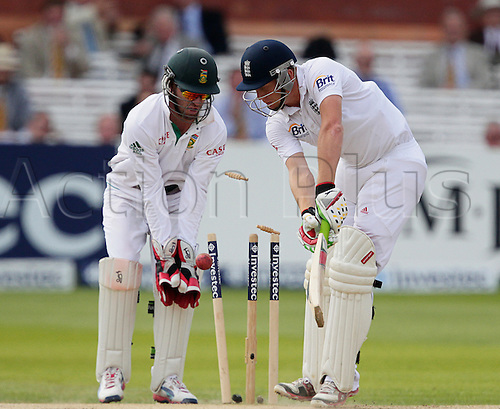 20.08.2012 London, England. Jonny Bairstow is clean bowled by Imran Tahir after lunch on day five of the third test between England and South Africa from Lords.