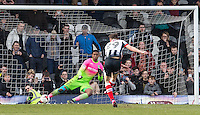 Calum Dyson of Grimsby Town scores from the penalty spot past Goalkeeper Jamal Blackman of Wycombe Wanderers during the Sky Bet League 2 match between Grimsby Town and Wycombe Wanderers at Blundell Park, Cleethorpes, England on 4 March 2017. Photo by Andy Rowland / PRiME Media Images.