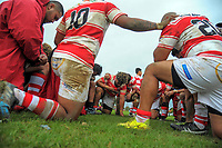 The Papatoetoe team huddles after the Auckland Premier club rugby match between Papatoetoe and College Rifles at Papatoetoe Rugby Club in Auckland, New Zealand on Friday, 28 April 2018. Photo: Dave Lintott / lintottphoto.co.nz