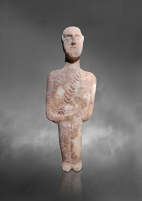 Post canonical ancient Greek Cycladic warrior or hunter figurine, Late Ccladic prioc II to Cycladic period II (2500-2000 BC)Museum of Cycladic Art Athens, cat no 308. Against Grey Background. <br /> <br /> The relif of a baldric crossing the body left to righ suggest the figure was of a warrior or hunter. A small triangular dagger is incised as if hanging from the baldric.