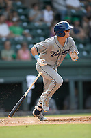 Third baseman Matt McLaughlin (5) of the Asheville Tourists bats in a game against the Greenville Drive on Sunday, June 3, 2018, at Fluor Field at the West End in Greenville, South Carolina. Greenville won, 7-6. (Tom Priddy/Four Seam Images)