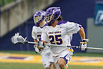 Stone Sims (#25) carries the ball forward on a clear as UAlbany Men's Lacrosse defeats Richmond 18-9 on May 12 at Casey Stadium in the NCAA tournament first round.