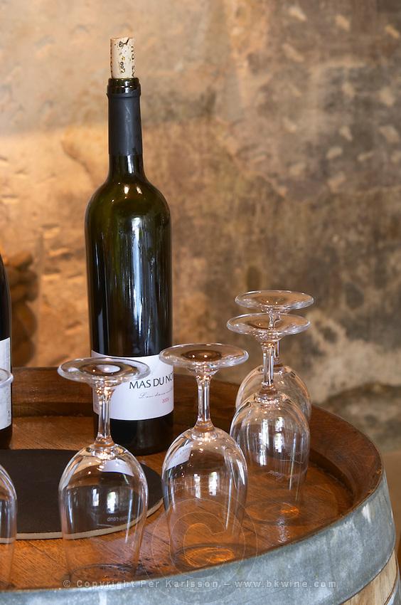 bottles and glasses for tasting mas du notaire rhone france