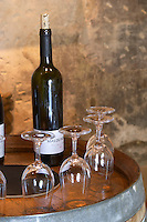 bottles and glasses for tasting mas du notaire rhone france