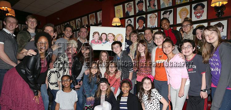 Oona Laurence, Milly Shapiro, Sophia Gennusa and Bailey Ryon with castmates Lesli Margherita, Chris Hoch, Gabriel Ebert, Jill Paice and Company  attend the surprise Sardi's caricature unveiling for the young stars of 'Matilda' at Sardi's  RestaurantMatilda on October 22, 2013 in New York City.