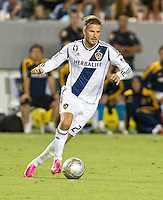CARSON, CA - September 1, 2012:  LA Galaxy midfielder David Beckham (23) during the LA Galaxy vs the Vancouver Whitecaps FC at the Home Depot Center in Carson, California. Final score LA Galaxy 1, Vancouver Whitecaps FC 0.
