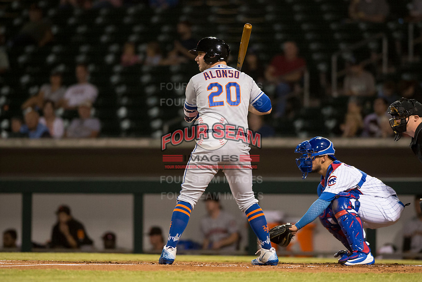 Scottsdale Scorpions first baseman Peter Alonso (20), of the New York Mets organization, at bat in front of catcher Jhonny Pereda (6) during an Arizona Fall League game against the Mesa Solar Sox at Sloan Park on October 10, 2018 in Mesa, Arizona. Scottsdale defeated Mesa 10-3. (Zachary Lucy/Four Seam Images)