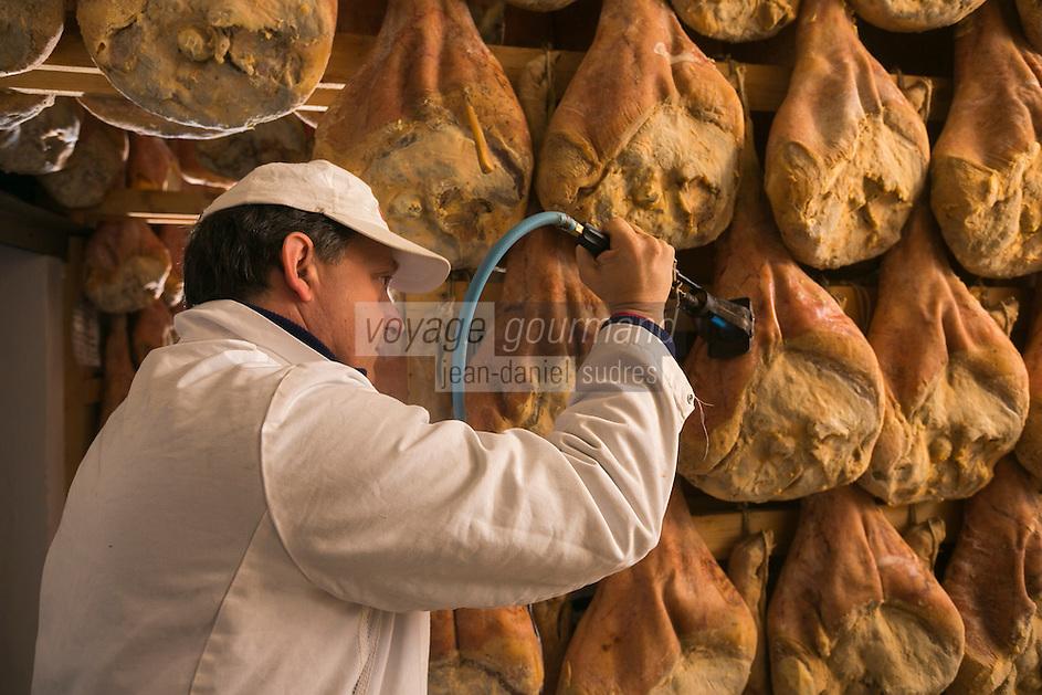Italie, Val d'Aoste, Vallée du Grand-Saint-Bernard,  Saint-Rhémy-en-Bosses: Vallée d'Aoste Jambon de Bosses est un jambon de montagne, aromatisé avec des herbes de montagne, bénéficiant d'une appellation d'origine protégée (AOP), produit en quantités limitées à Saint-Rhémy-en-Bosses // Italy, Aosta Valley,  Saint Rhemy en Bosses: Vallée d'Aoste Jambon de Bosses is a spicy cured pork product from Saint-Rhémy-en-Bosses in the Aosta Valley in Italy , one of the region's specialties. It was awarded European Union protected designation of origin (PDO) status.<br /> AUTO N°:  2013-156